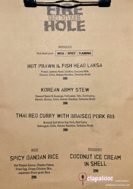 Fire in the Hole Menu