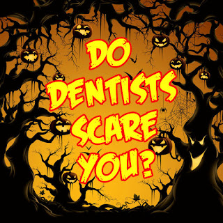 Scary pumpkinks, bats, trees with headline, Do Dentists Scare You?