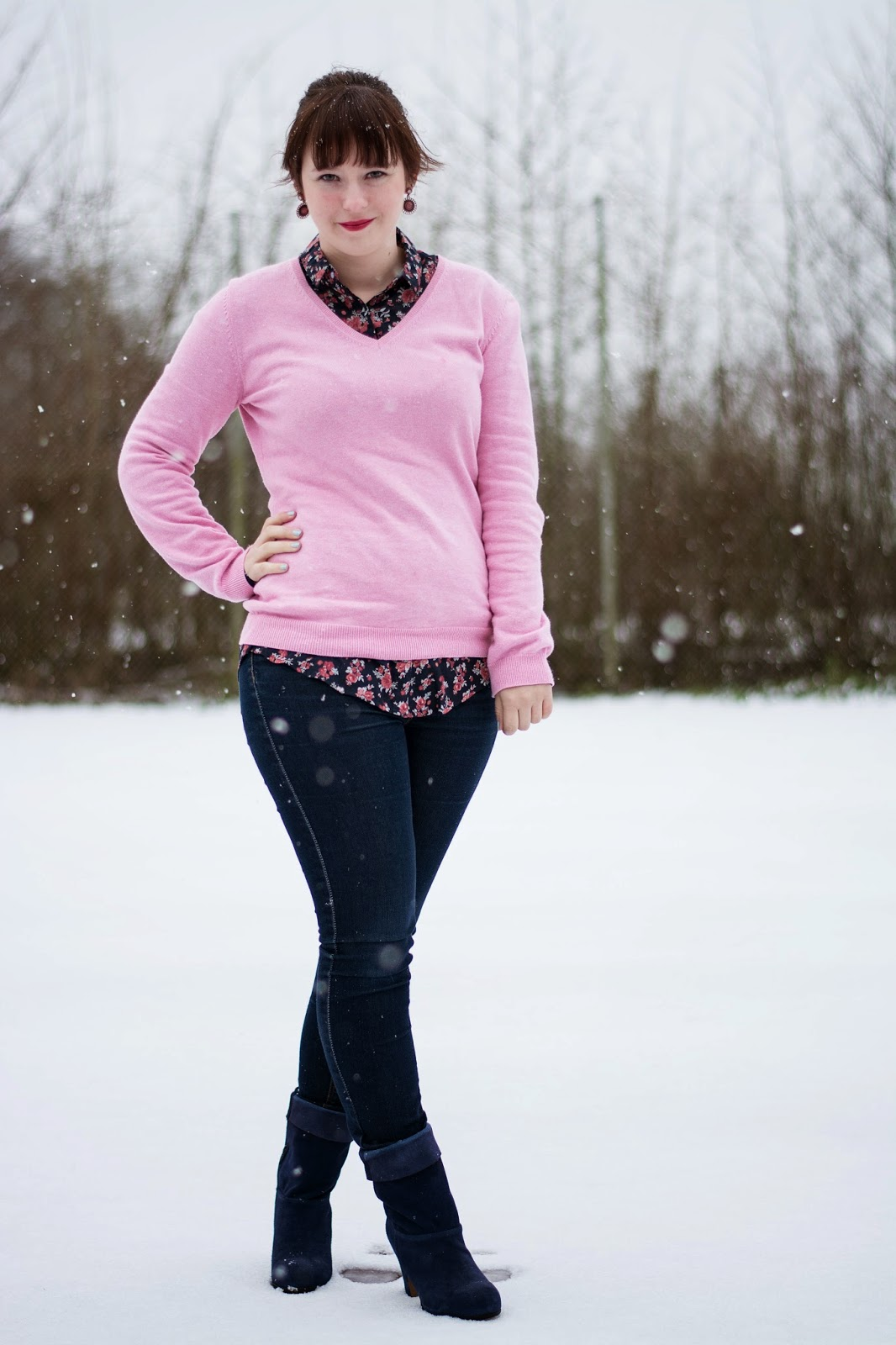 Outfit im Schnee - Pastelrosa