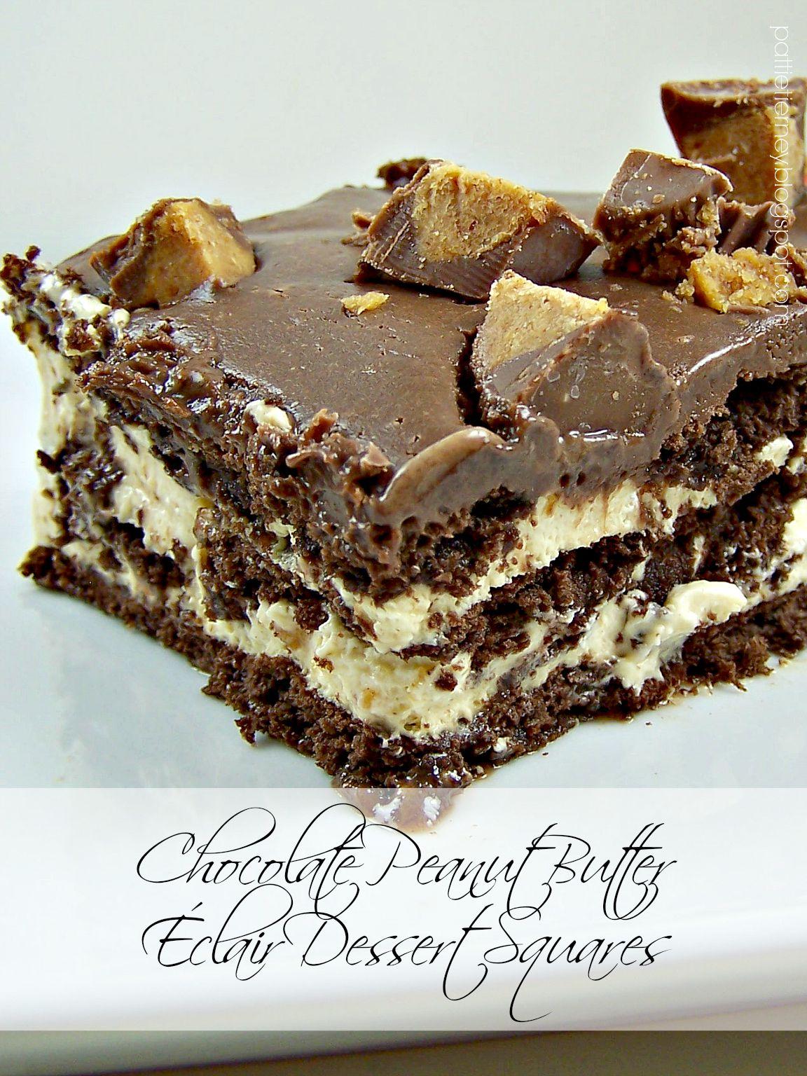 Olla-Podrida: Chocolate Peanut Butter Éclair Dessert Squares