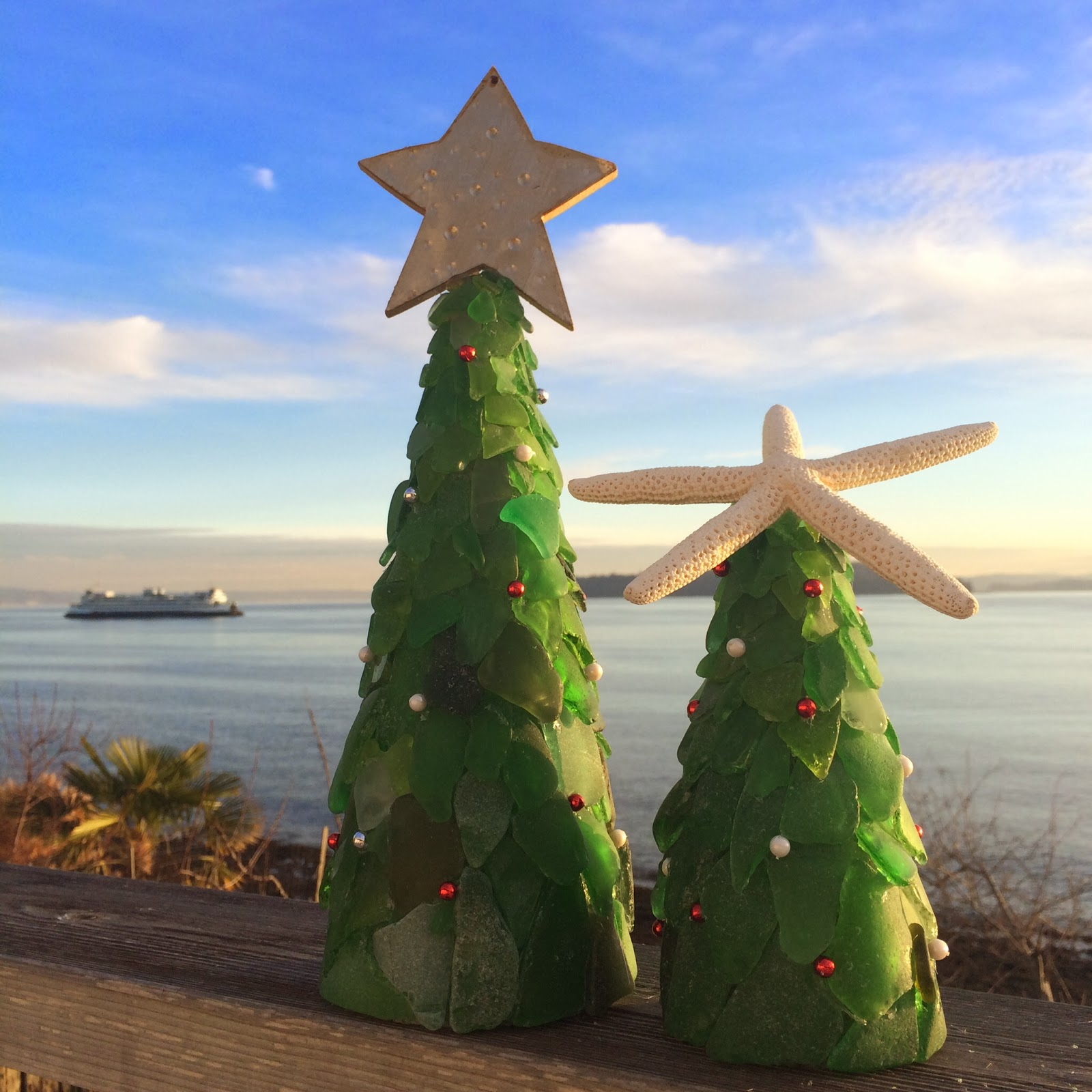 Yokomccann Sea Glass Christmas Trees