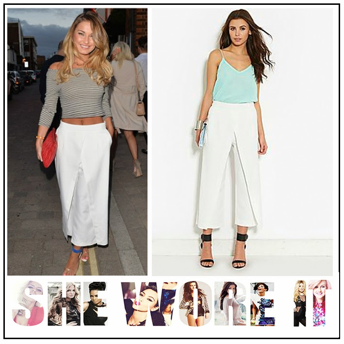 Cross Over Detail, Culottes, High Waisted, Lavish Alice, Sam Faiers, The Only Way Is Essex, TOWIE, Trousers, Whit, Wide Leg,