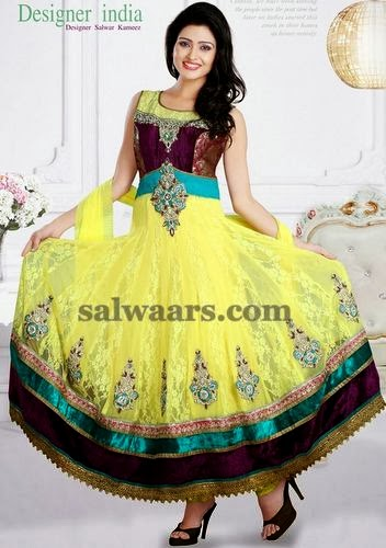 Anarkali Churidar in Lemon Yellow