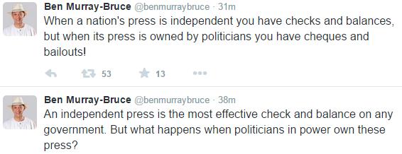 Senator Ben Murray Bruce comes for Politicians who control the Press