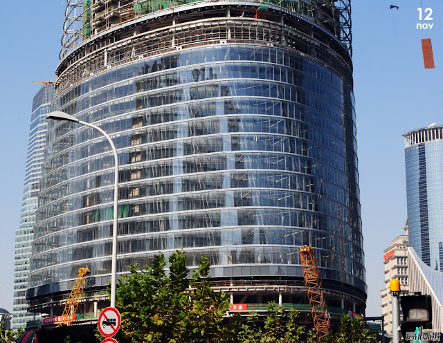 Photo of exterior glass cladding on the lower floors of the Shanghai Tower