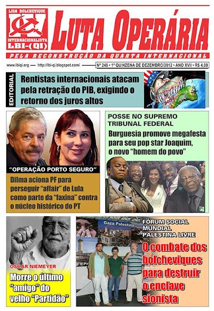 LEIA A EDIÇÃO DO JORNAL LUTA OPERÁRIA, Nº 248, 1ª QUINZENA DE DEZEMBRO/2012