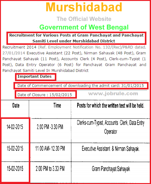 http://murshidabad.nic.in/recruitment.aspx | Download Murshidabad Gram Panchayat & Panchayat Samiti Level Various Jobs Written Exam Admit Card/Call Letter