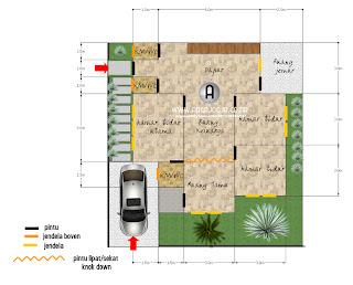 Desain Sket Denah Rumah Tipe 78 di Lahan Hook / Pojok