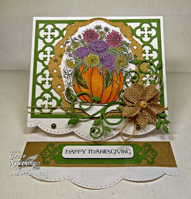 ODBD stamps, Fall Flower Pumpkin, Thankful Song, Pumpkin With Flowers Die, Fancy Foliage Die, Quatrefoil Pattern Die, Elegant Oval Die, designed by Grace Nywening