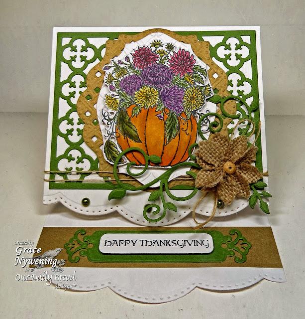 ODBD stamps, Fall Flower Pumpkin, Thankful Song, Pumpkin With Flowers Die, Fancy Foliage Die, Quatrefoil Pattern Die, Elegant Oval Die, designed by Grace Nywening
