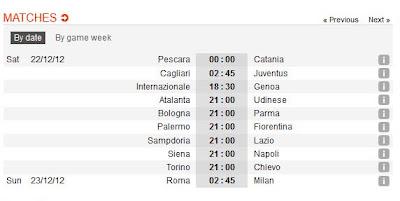 inovLy media : Jadwal Lengkap SERI A ITALIA Giornata 18
