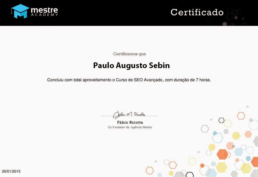 Certificado de SEO Avançado - Paulo Augusto Sebin