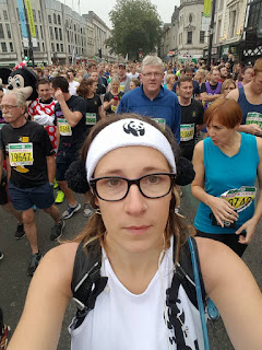 Nervously waiting to start my first half marathon