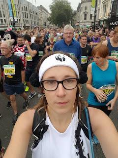 Nervously waiting to start my first half marathon