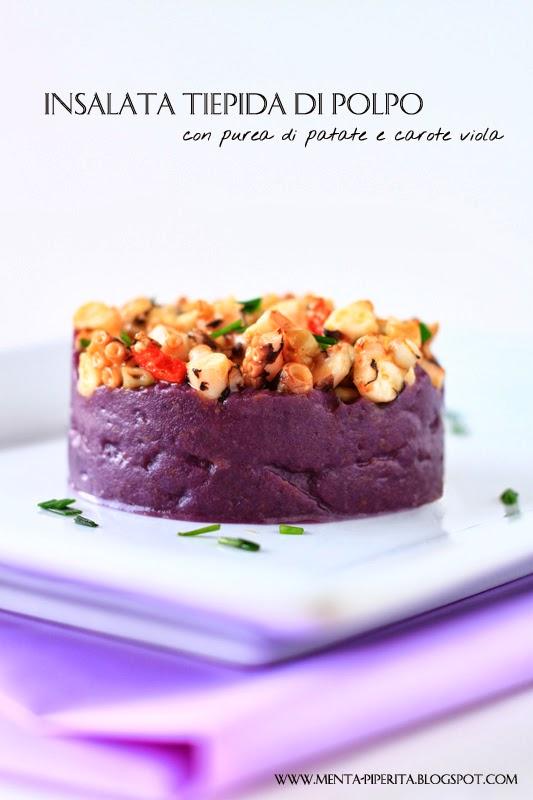 insalata tiepida di polpo con purea di patate e carote viola (o nere?!)