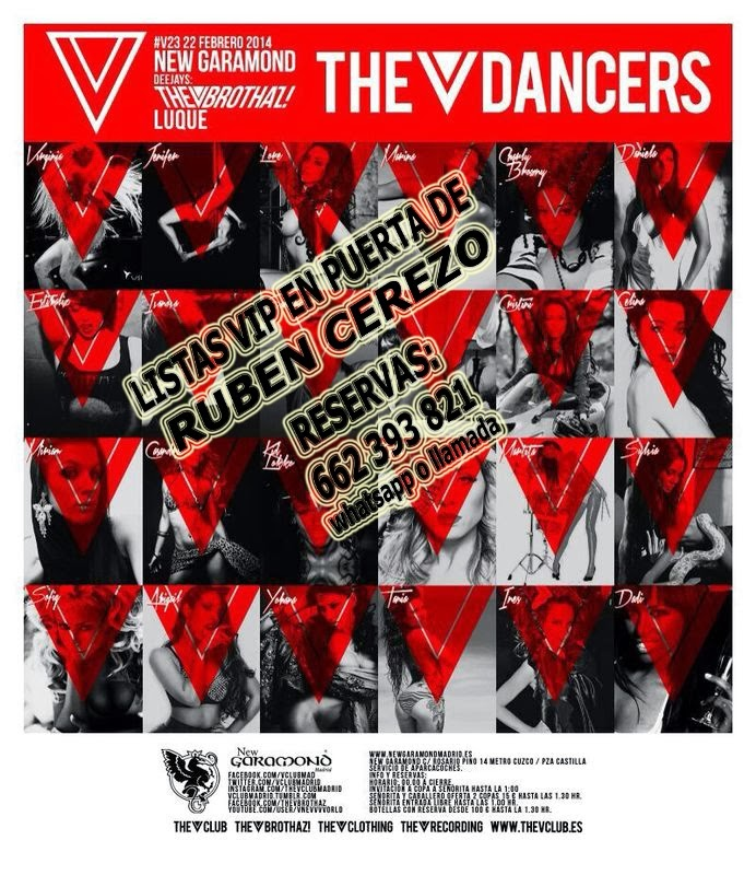 "LISTAS NEW GARAMOND SÁBADO, 22 DE FEBRERO: ""V23"" THE DANCERS - LUQUE & THE BROTHAZ"