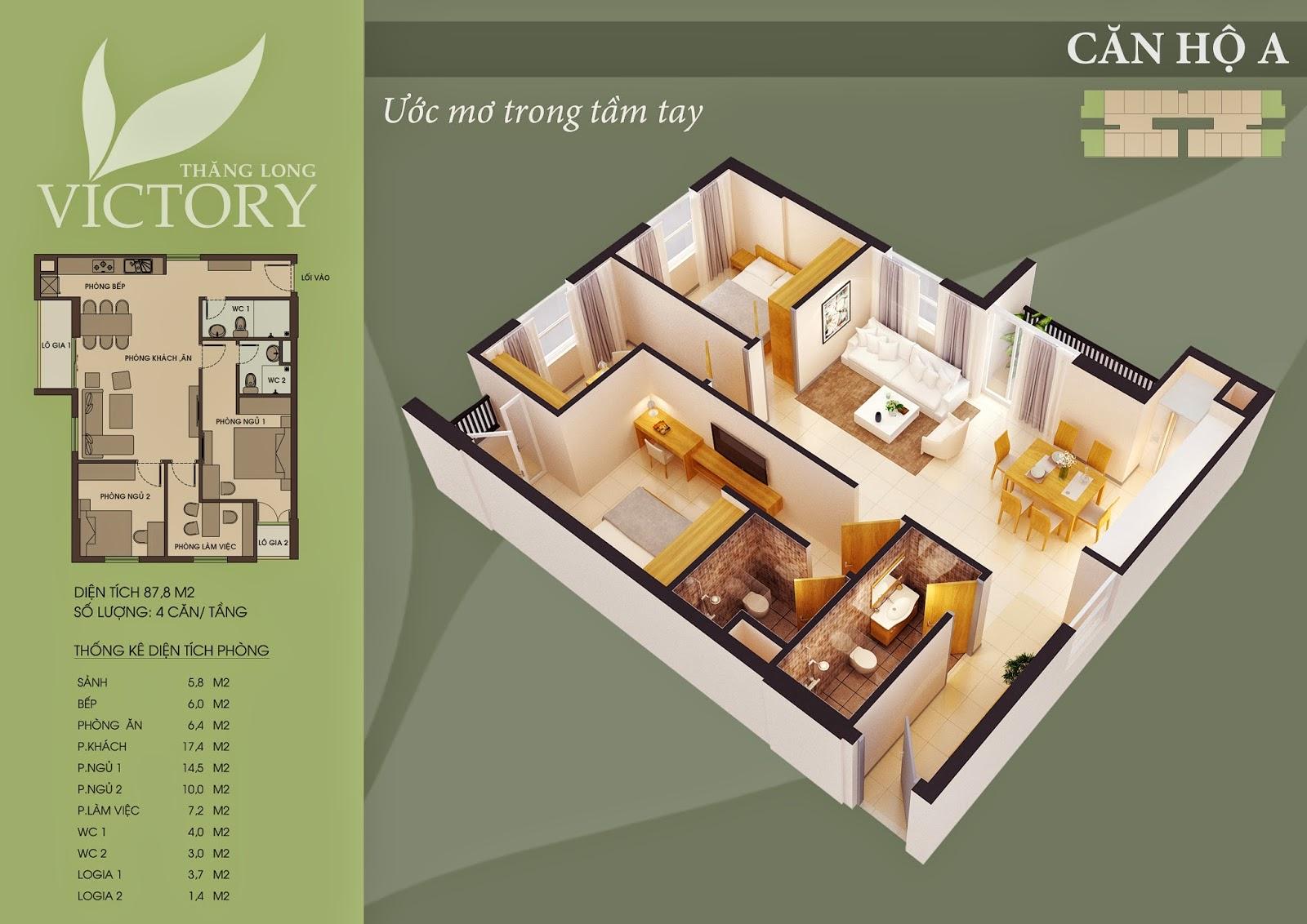 Căn Hộ 87m2 Chung Cư Thăng Long Victory