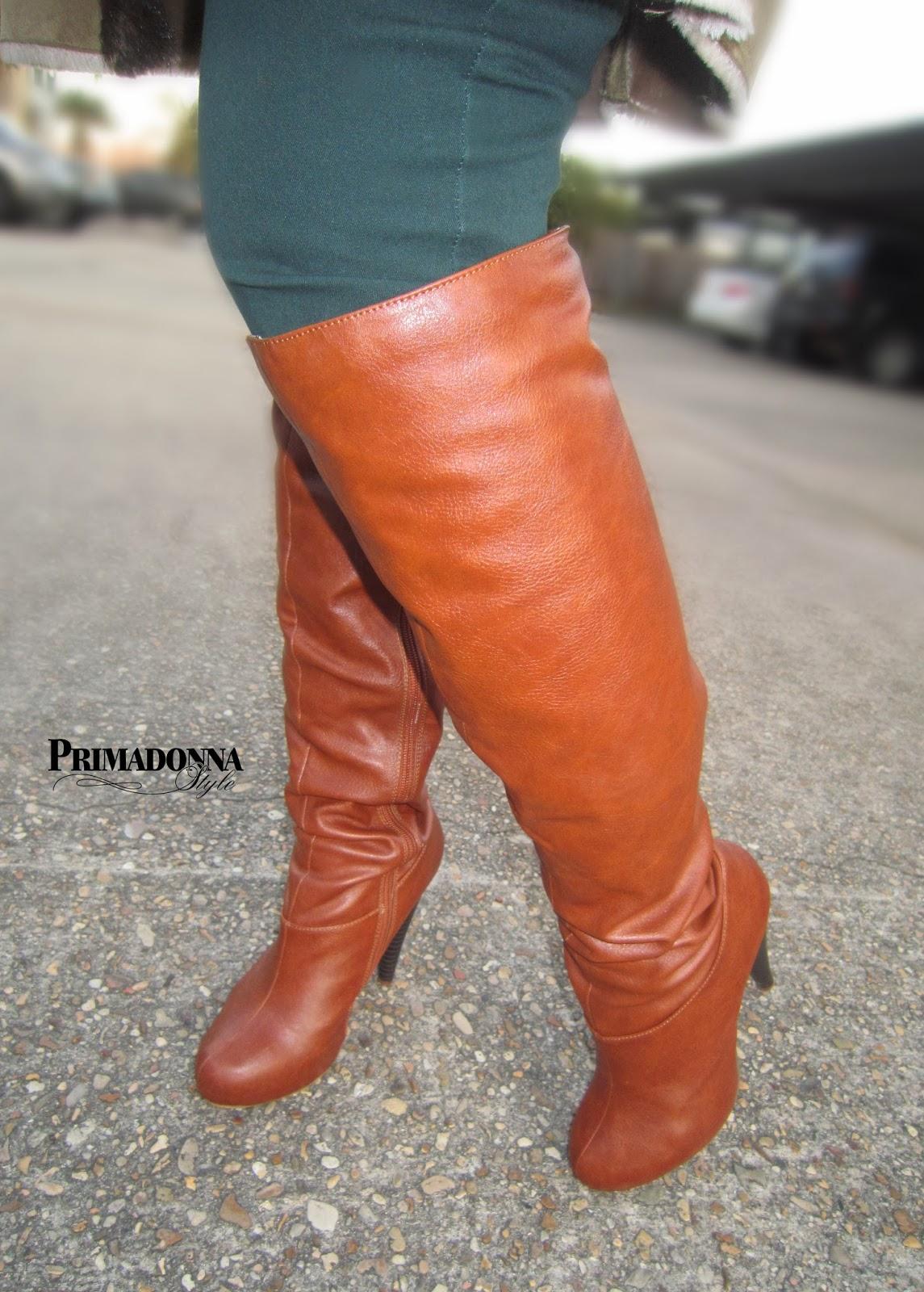 Michael Antonio Halpern knee boots Cognac