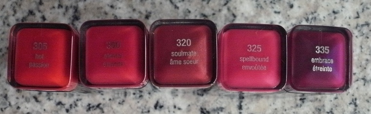 These are L to R- Hot  Eternal  Soulmate  Spellbound  and Embrace     Covergirl Embrace Lipstick