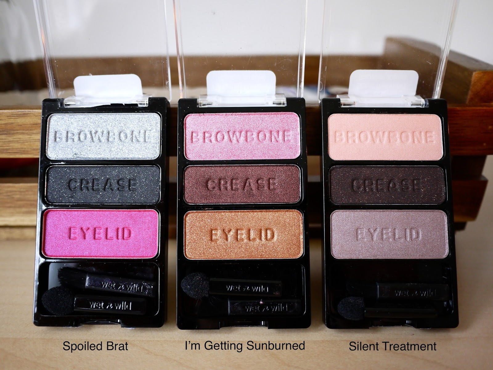 Wet n Wild Trios (Spoiled Brat, I'm Getting Sunburned, Silent Treatment) swatches and looks