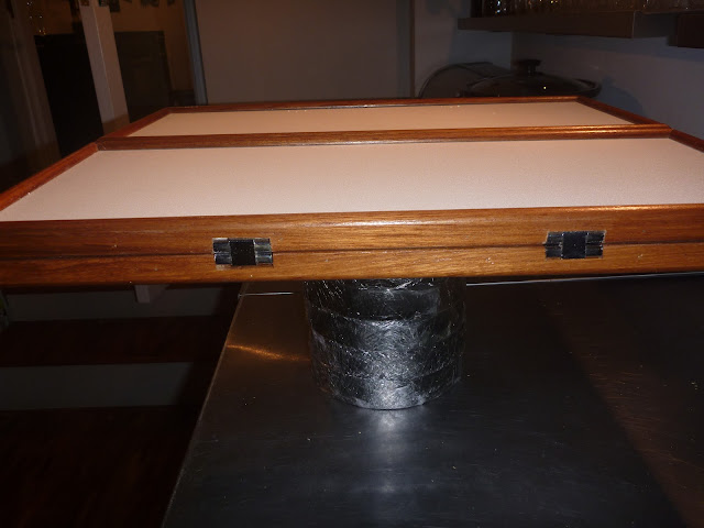 Folded tabeltop for Lagun table. Showing the rebate for the counterflap hinges chiseled into the edges.