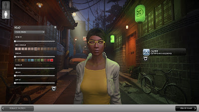 A character creation screen showing head options