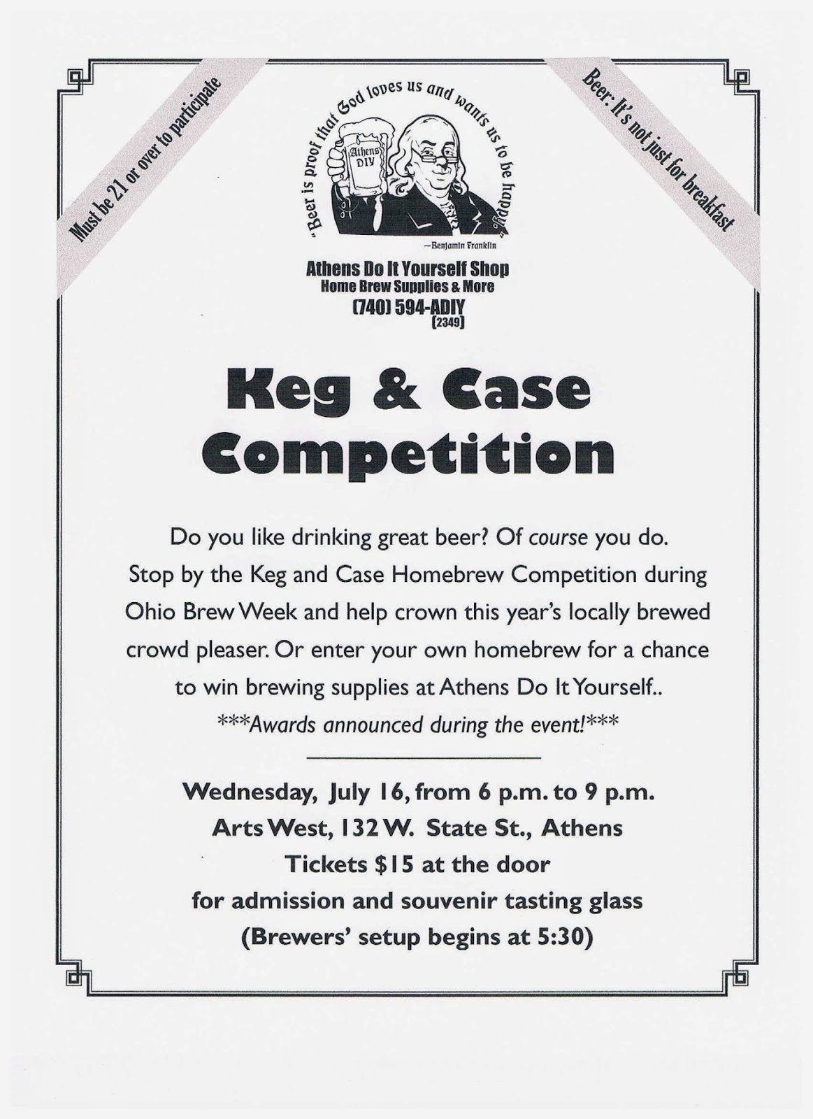 Artswest athens community gateway to the arts athens do it athens do it yourself shop presents their annual keg case homebrew competition solutioingenieria Choice Image