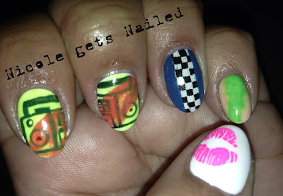 Neon Old School Boombox Nail Art