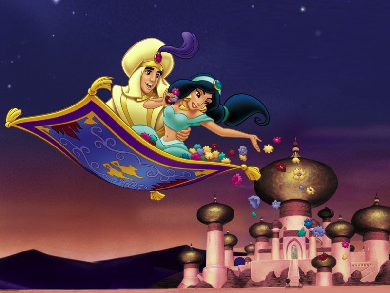 Aladdin and Jasmine flying above the city in Aladdin 1992 http://animatedfilmreviews.blogspot.com/2012/12/aladdin-1992-king-of-genies.html
