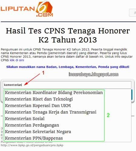 Lihat Pengumuman CPNS Honorer K2 di Liputan 6