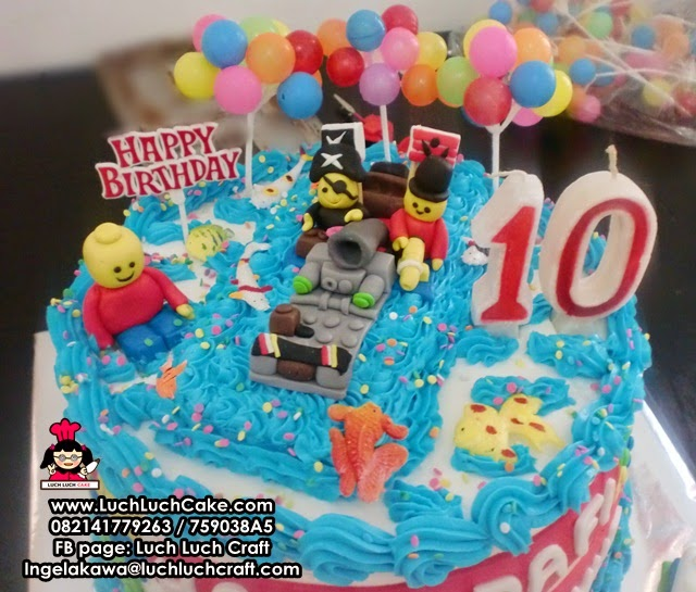 Kue Tart Ulang Tahun Tema Lego