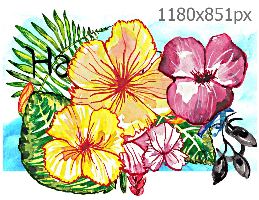 Jieunworld hawaiian aloha flowers digital psd layers file hawaiian aloha flowers digital psd layers file printables downloads scrapbooking paper craft watercolor photoshop tropical hawaii yellow izmirmasajfo Gallery
