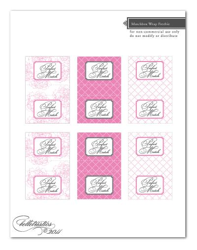 free printable peony matchbox label wrap