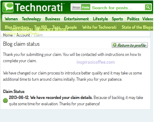 cara claim blog di technorati