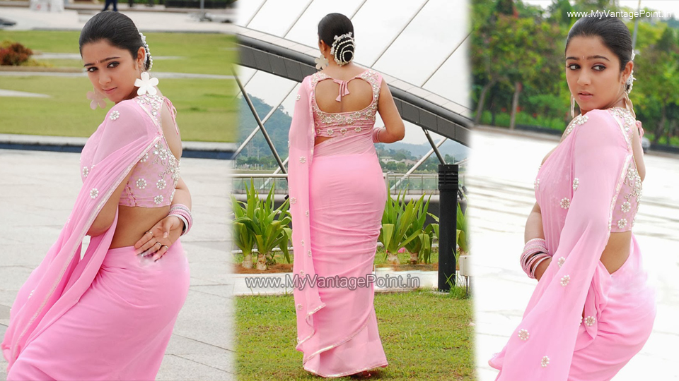 Charmi Kaur hot in saree from kousalya supraja rama movie, Charmi Kaur hot back in saree, Charmi Kaur in pink saree,