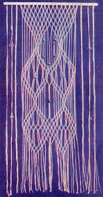 Плетение шторы на окно в макраме. Схема плетения шторы на окно.