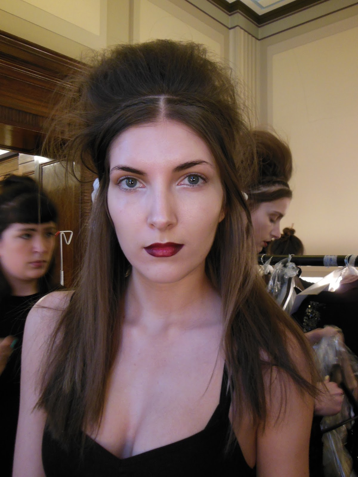 Model backstage at london fashion week