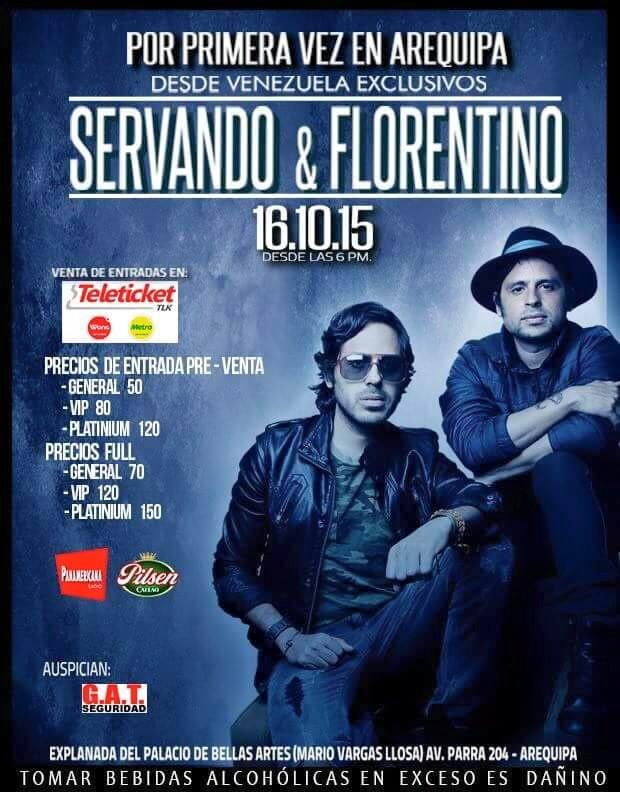 Servando y Florentino en Arequipa - Venta de entradas - 16 de octubre