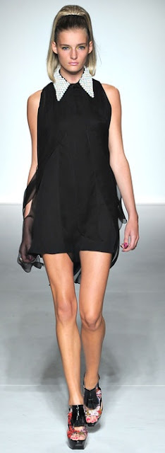 black a line chiffon dress embellished collar ppq ss 2013