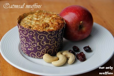 not only muffins: Oatmeal muffins with apple, banana, cranberries ...