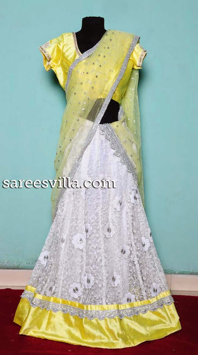White designer half saree
