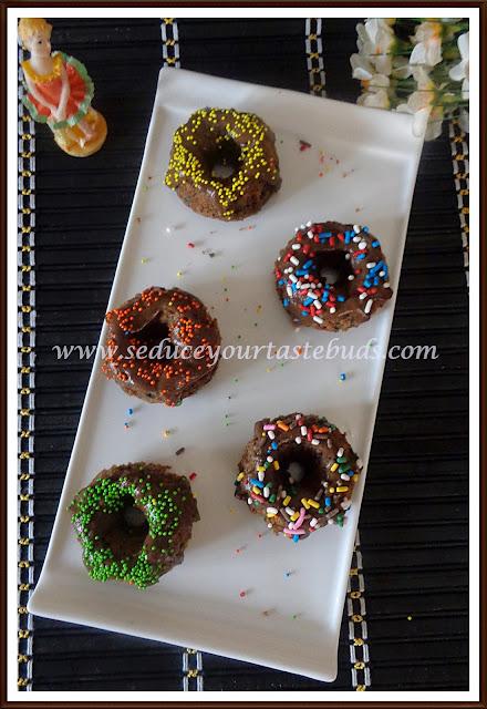 Eggless Fingermillet Chocolate Bundts With Sprinkles | #Bundtbakers
