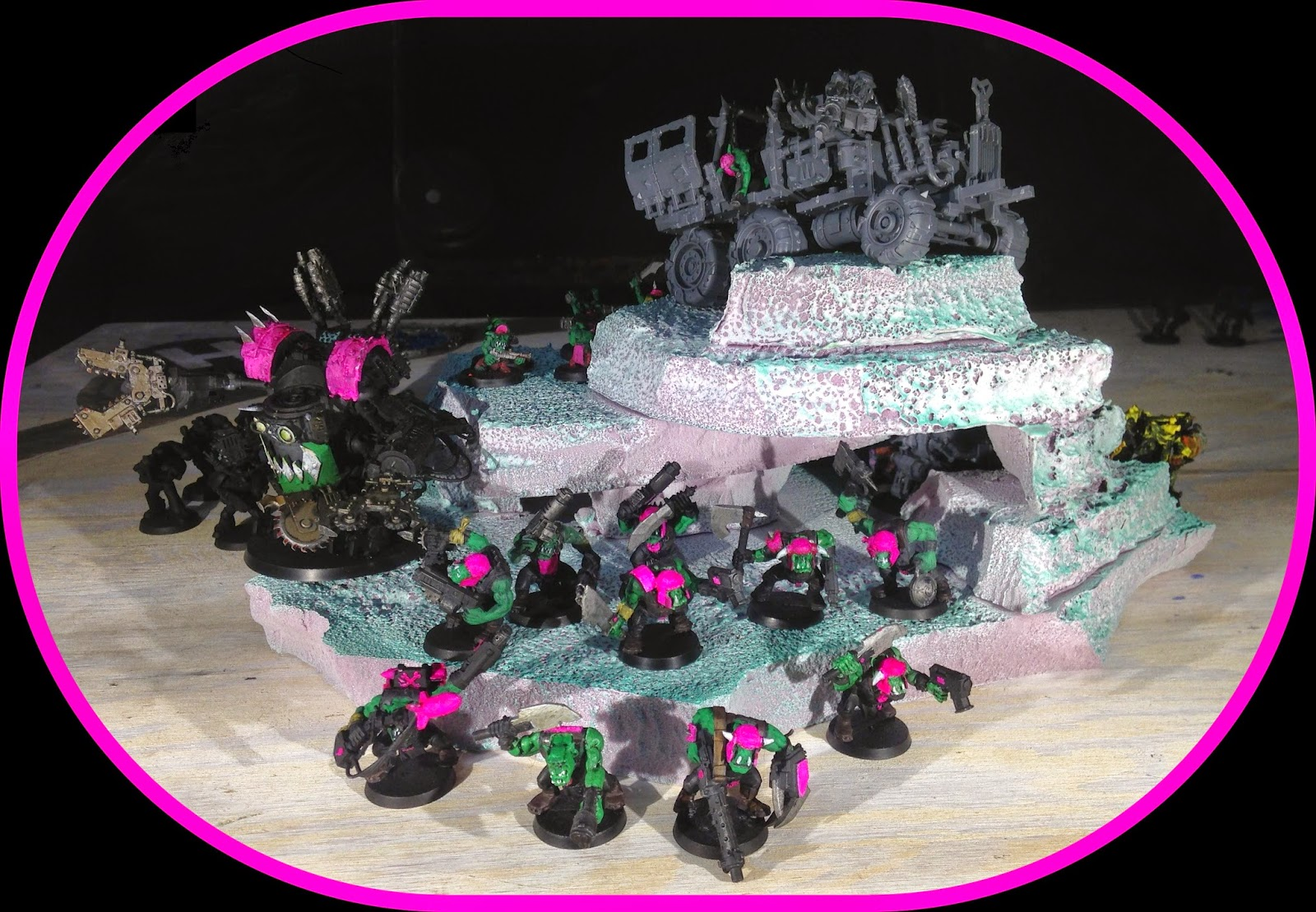 Battle Gaming One Pink Orks Orkys Bright Pink Pink Deff Dread
