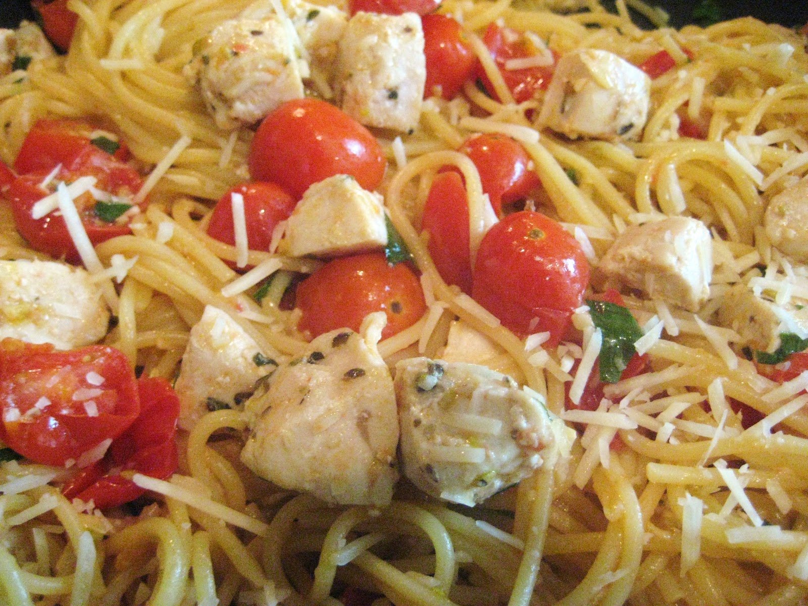 Spaghetti With Sauteed Chicken And Grape Tomatoes Recipes — Dishmaps