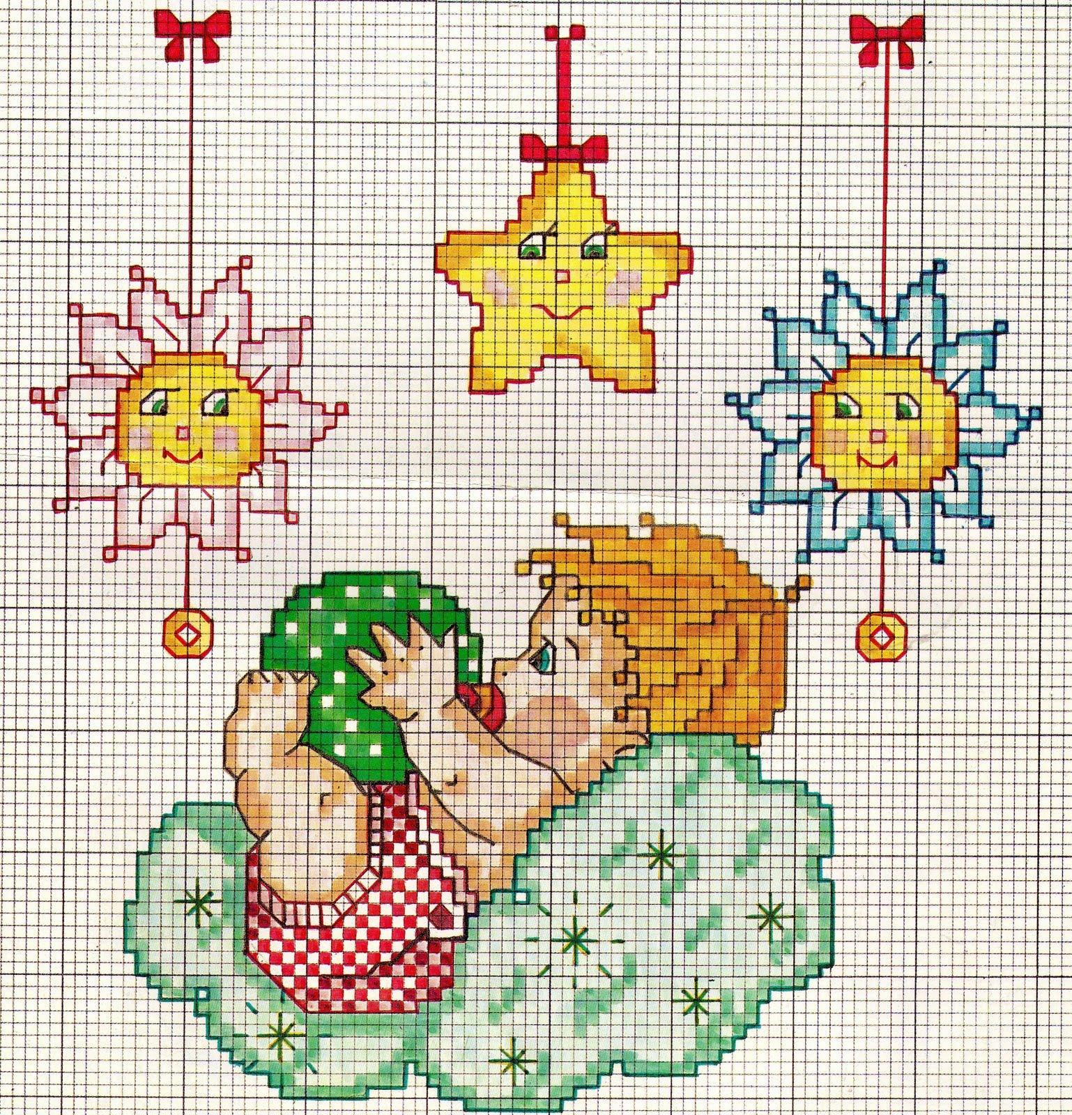 Connu ♥ღ UN LAGO DI IDEE XXX ღ♥: Bimbi che dormono: punto croce!!! PA36