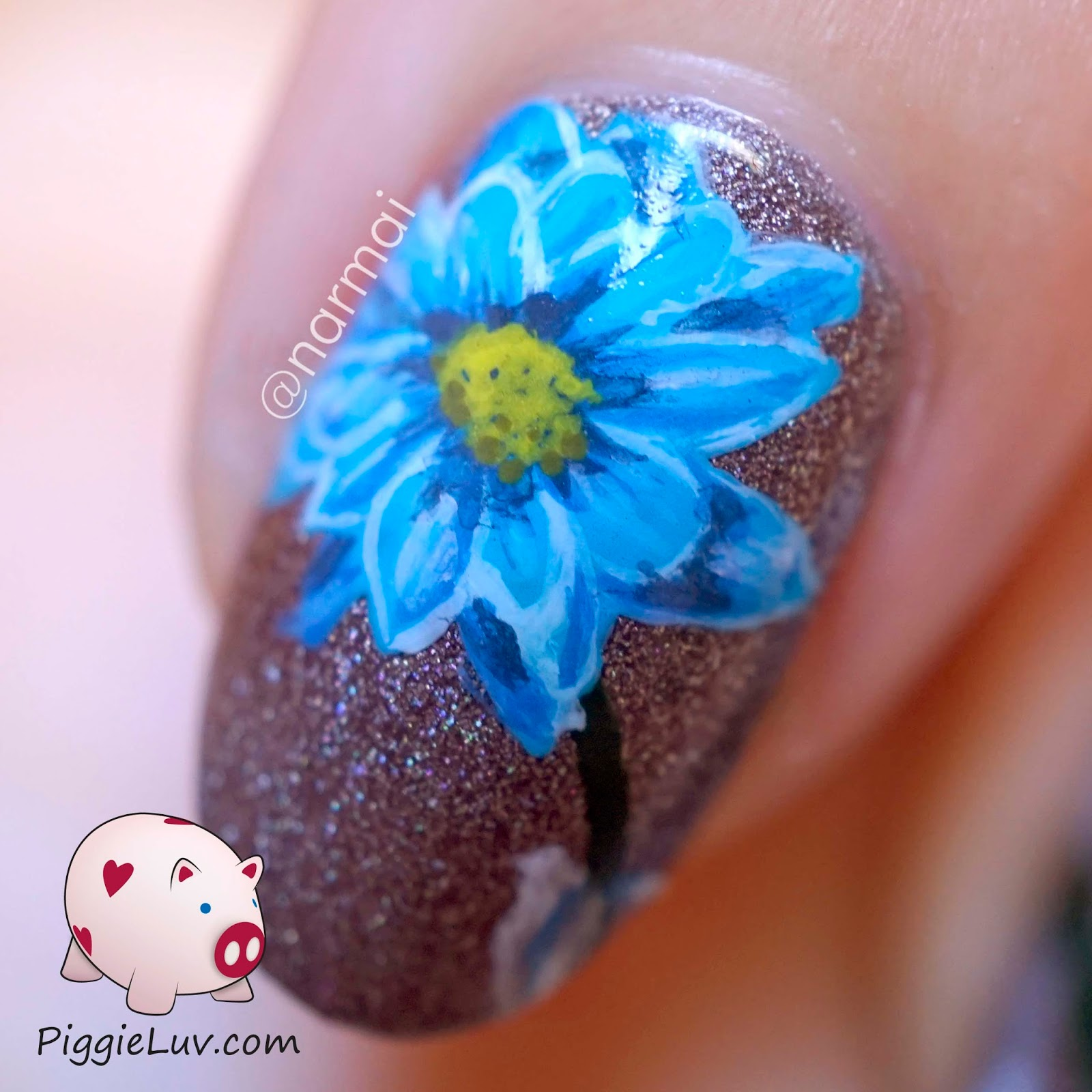 Piggieluv blue flower in vase nail art see how the flower is kind of the star of the show it was painted with acrylic paint as was the rest of the design i used my basic one gold detail reviewsmspy