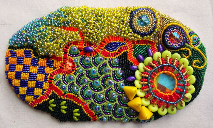 beaded pouch by Becki Applegate, front and back