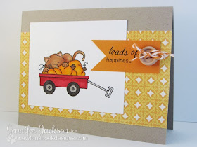 Wagon card with pumpkin and cat for Newton's Nook Designs
