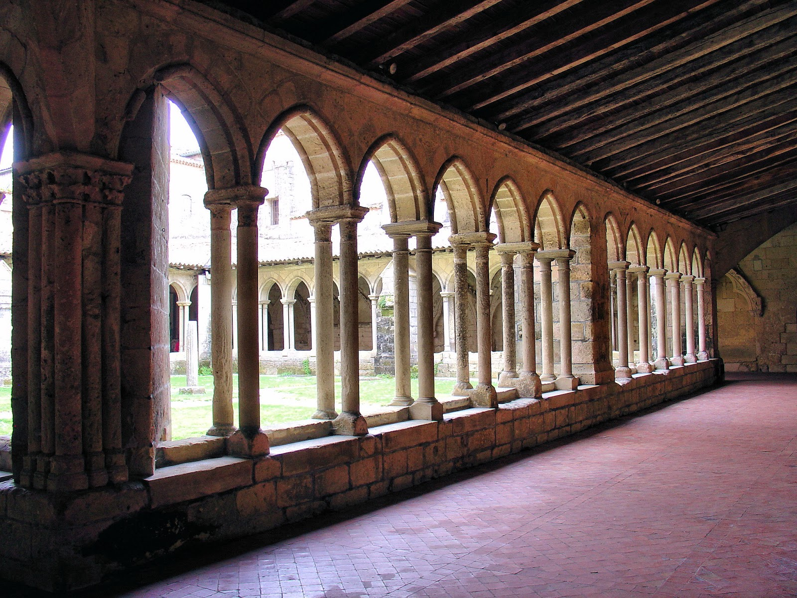 Looking out into the Collegiate Cloister in Saint-Émilion.