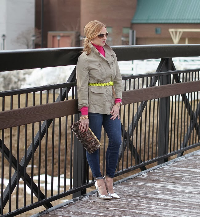 silver heels, utility jacket, yellow belt, military jacket, lulu looks,